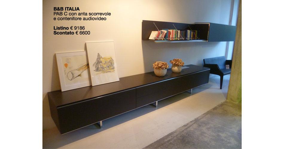 b&B ITALIA PAB C CON ANTA SCORREVOLE E CONTENITORE AUDIOVIDEO LISTINO €9186 SCONTATO €6.600,00
